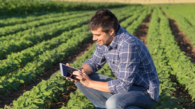 Man in field with tablet